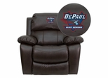 DePaul University Blue Demons Leather Rocker Recliner - MEN-DA3439-91-BRN-45009-EMB-GG