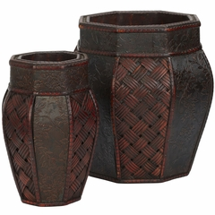 Design and Weave Panel Decorative Planters (Set of 2) - Nearly Natural - 0517