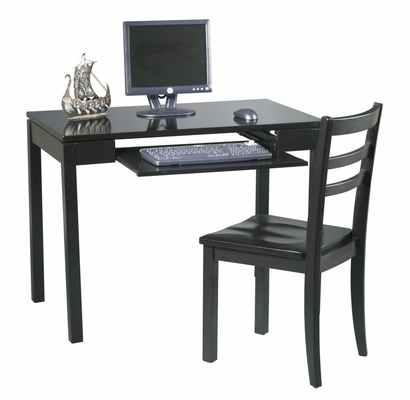 Desk and Chair Set in Black - Office Star - BK252W