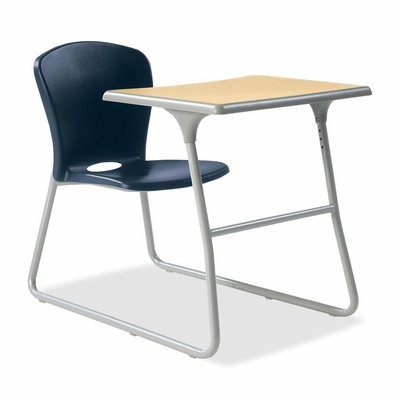 Desk/Chair Combo - Navy Blue chair and Titanium steel frame 2 Count- HONCL71HPBDD91C