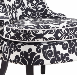 Diana Swoop Back, Cap Arm Accent Chair - Black and White Floral Chenille Fabric with White Welting - Powell Furniture - 243-620