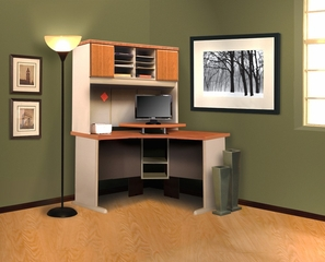 "Digital Dock Corner Worktable and 48"" Hutch Set - ProFlex - O'Sullivan Office Furniture - 11229"