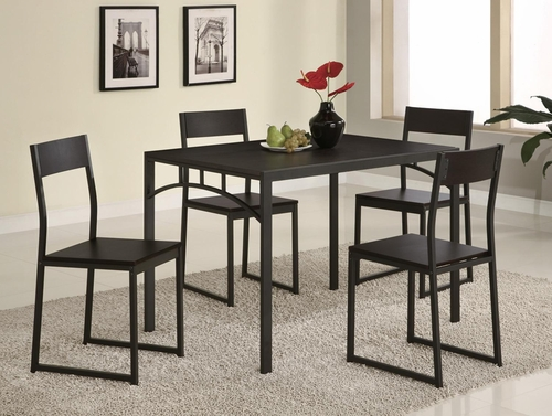 Dinettes Chic 5 Piece Dining Set on Cappuccino - 120569