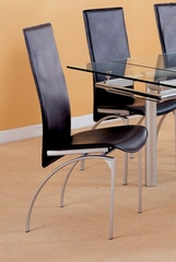 Dining Chair (Set of 4) in Silver / Black Leather - Coaster