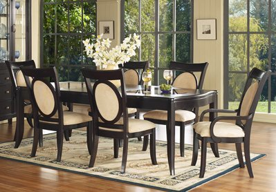 Dining Room Furniture Set 2 in Merlot Finish - 138-DINING-SET-2