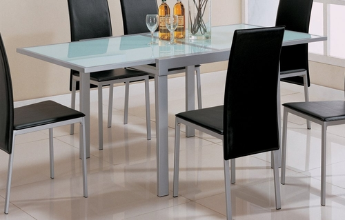 Dining Table in Pearl Silver Metal / Frosted Glass Top - Coaster