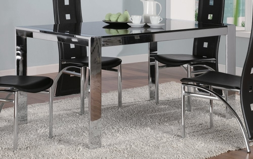 Dining Table in Silver / Tinted Glass - Coaster