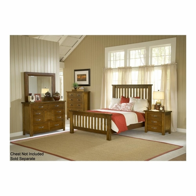 Distressed Chestnut Outback Slat Bed, Nightstand, Chesser, & Mirror - Hillsdale