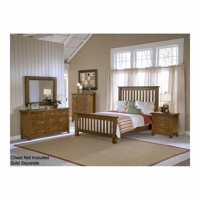 Distressed Chestnut Outback Slat Bed, Nightstand, Dresser, & Mirror - Hillsdale