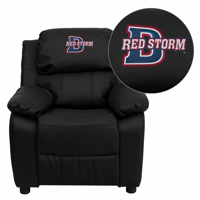 Dixie State College Red Storms Black Leather Kids Recliner - BT-7985-KID-BK-LEA-41025-EMB-GG