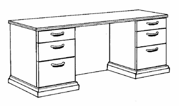DMI Office Credenza with Full Return Base Moulding - Transitional Office Furniture - 7130-23