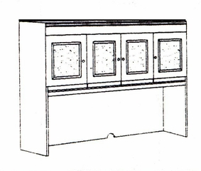DMI Office Hutch with Crackle Glass Door Panels - Executive Office Furniture / Home Office Furniture - 7302-404