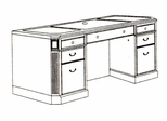 DMI Office Kneehole Credenza without Return Mouldings 7376-215