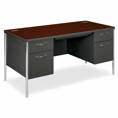 Double Pedestal Desk - Mahogany/Charcoal - HON88962NS