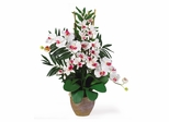 Double Phal / Dendrobium Silk Flower Arrangement in White / White - Nearly Natural - 1071-WW