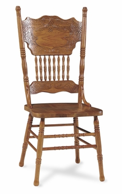 Double Pressback Side Chair in Medium Oak - 1C04-502