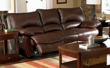 Double Reclining Sofa in Brown Leather - Coaster
