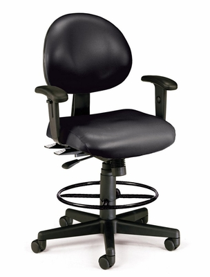 Drafting Chair - Vinyl 24 Hour Computer Task Chair with Arms and Drafting Kit - OFM - 241-VAM-AA-DK