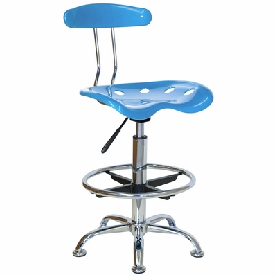 Drafting Stool / Bar Stool in Bright Blue - LF-215-BRIGHTBLUE-GG