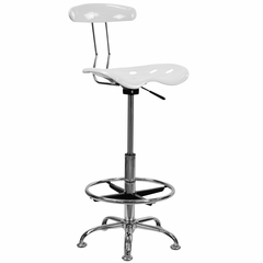 Drafting Stool / Bar Stool in White - LF-215-WHITE-GG