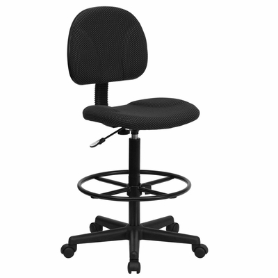 Drafting Stool with Designer Black Fabric Seat - BT-659-BLK-GG