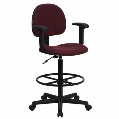 Drafting Stool with Designer Burgundy Fabric Seat - BT-659-BY-ARMS-GG