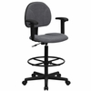 Drafting Stool with Designer Grey Fabric Seat - BT-659-GRY-ARMS-GG