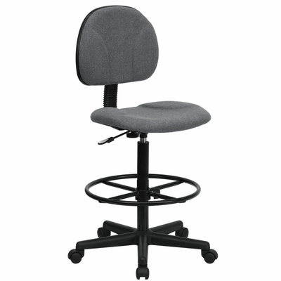 Drafting Stool with Designer Grey Fabric Seat - BT-659-GRY-GG