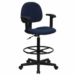Drafting Stool with Designer Navy Fabric Seat - BT-659-NVY-ARMS-GG