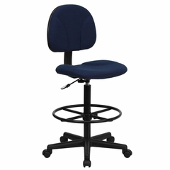Drafting Stool with Designer Navy Fabric Seat - BT-659-NVY-GG