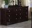 Dresser - 6-Drawer Dresser in Mocha Finish with Solid Wood and Wood Veneers