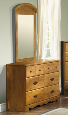 Dresser and Mirror Set - Double Dresser and Mirror Set in Country Pine - South Shore Furniture - 3232-DM2