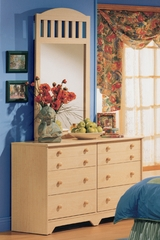 Dresser and Mirror Set - Double Dresser and Mirror Set in Natural Maple - South Shore Furniture - 2713-DM