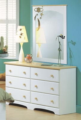 Dresser and Mirror Set - Double Dresser and Mirror Set in Pure White/Maple - South Shore Furniture - 3263-DM