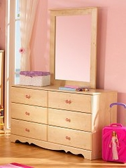Dresser and Mirror Set - Double Dresser and Mirror Set in Romantic Pine - South Shore Furniture - 3272-DM