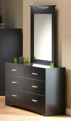 Dresser and Mirror Set - Triple Dresser and Mirror Set in Chocolate - South Shore Furniture - 3159-DM