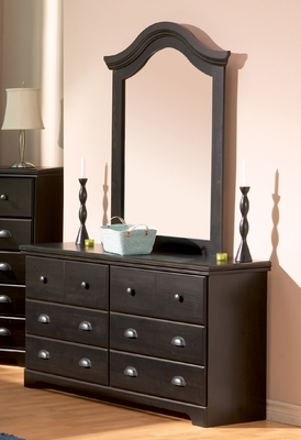 Dresser and Mirror Set - Triple Dresser and Mirror Set in Ebony - South Shore Furniture - 3877-DM