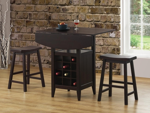 Drop Leaf Bar Table and 2 Stools Set - 150100