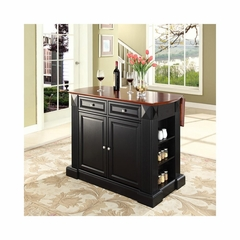 Drop Leaf Breakfast Bar Top Kitchen Island in Black - CROSLEY-KF30007BK