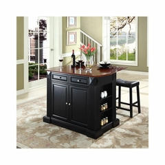 "Drop Leaf Breakfast Bar Top Kitchen Island in Black with 24"" Saddle Stools - CROSLEY-KF300074BK"