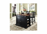 "Drop Leaf Breakfast Bar Top Kitchen Island in Black with 24"" School House Stools - CROSLEY-KF300072BK"