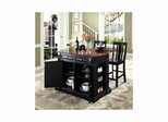 "Drop Leaf Breakfast Bar Top Kitchen Island in Black with 24"" Shield Back Stools - CROSLEY-KF300071BK"