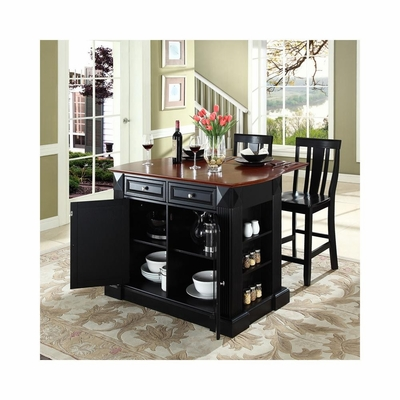 Drop Leaf Breakfast Bar Top Kitchen Island in Black with 24