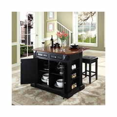 "Drop Leaf Breakfast Bar Top Kitchen Island in Black with 24"" Square Seat Stools - CROSLEY-KF300075BK"