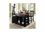 "Drop Leaf Breakfast Bar Top Kitchen Island in Black with 24"" X-Back Stools - CROSLEY-KF300073BK"