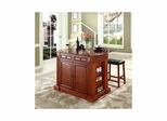 "Drop Leaf Breakfast Bar Top Kitchen Island in Cherry with 24"" Saddle Stools - CROSLEY-KF300074CH"