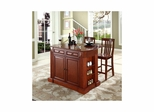 "Drop Leaf Breakfast Bar Top Kitchen Island in Cherry with 24"" School House Stools - CROSLEY-KF300072CH"
