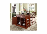"Drop Leaf Breakfast Bar Top Kitchen Island in Cherry with 24"" X-Back Stools - CROSLEY-KF300073CH"