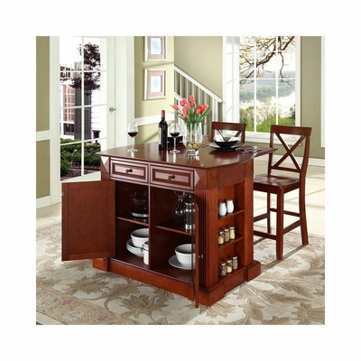 Drop Leaf Breakfast Bar Top Kitchen Island in Cherry with 24