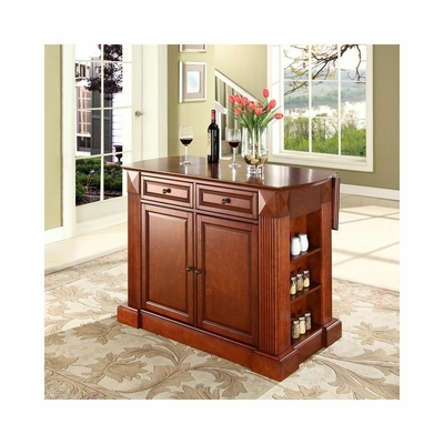 Drop Leaf Breakfast Bar Top Kitchen Island in Classic Cherry - CROSLEY-KF30007CH